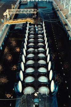 The missile tubes of an Ohio Class submarine