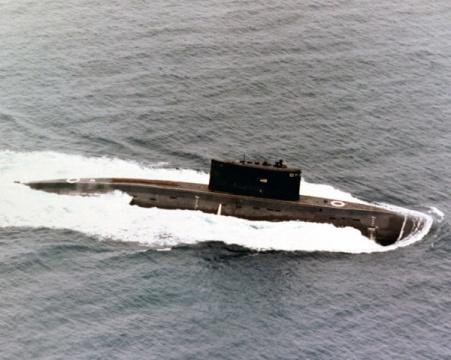 Kilo class patrol submarine underway