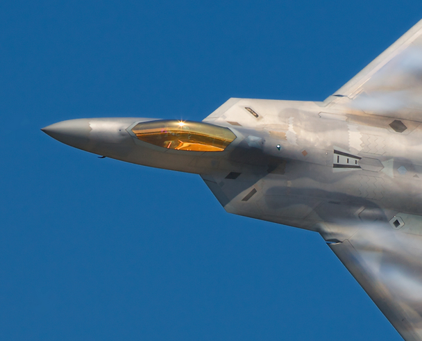 A close up photograph showing the gold coated canopy & F-22 Raptor : The Story of The Worldu0027s Deadliest Fighter ...