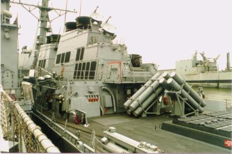 2 quad Harpoon missile launchers on a Flight I Burke. Flight IIA also has the same layout.