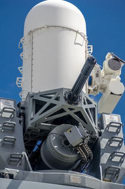 Phalanx Block 1B close-in weapon system (CIWS) on board the Royal Navy Type 45 destroyer HMS Daring