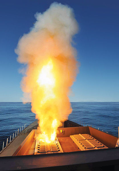 HMS Diamond firing an Aster missile for the first time in 2012.