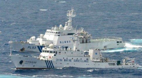 Chinese surveillance ships intercepts a Japanese surveillance ship.
