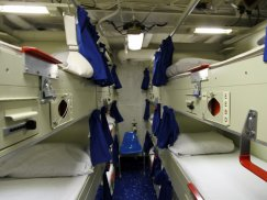 Sailors sleeping quarters on board the USS Barry, an Arleigh Burke class destroyer.