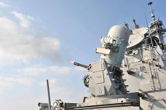 A phalanx close-in weapons system (CIWS) is fired during a pre-action aim calibration test aboard USS Lassen (DDG 82)