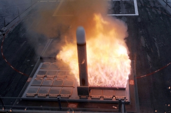 Tomahawk launch from a US Navy Burke class destroyer
