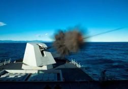 127 mm gun firing during trials