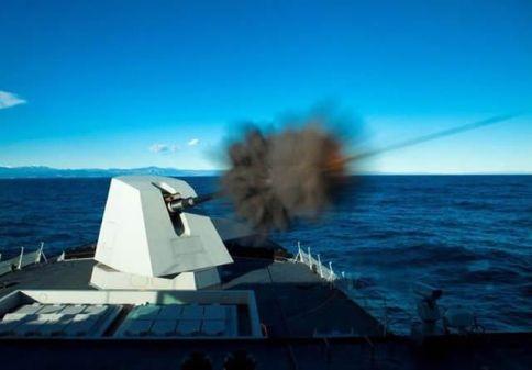127 mm gun firing during trials