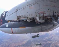A Su-25 drops OFAB-250 bombs