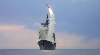 Tomahawk launch from a US Navy Tico class cruiser