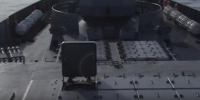 UKSK cell hatch open for Kalibr missile launch