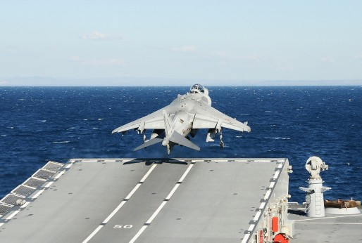 An Italian Harrier taking off from a ramp
