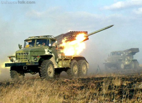BM-21 firing 122 mm rockets