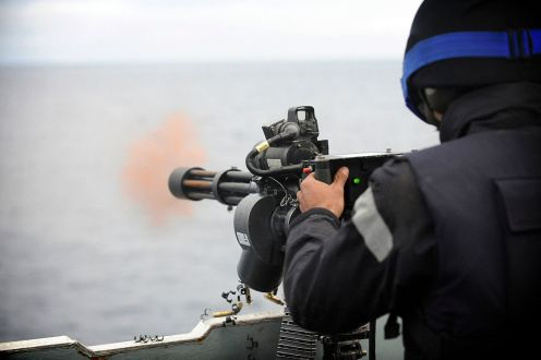 7.62 mm Mk44 Minigun firing at sea
