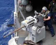 A Bushmaster Mk38 manually operated 25 mm gun