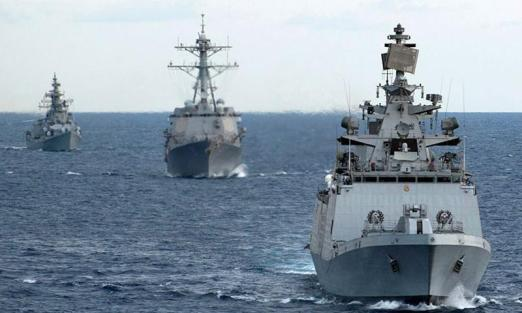 Indian and US Navy Ships during Exercise-Malabar- 2012