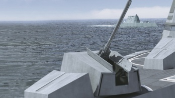 A 155 mm gun with it's barrel outside the stealth casing