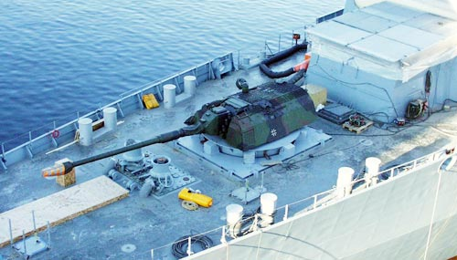 A 155 mm PzH2000 Howitzer turret mounted on a German Navy Sachsen class frigate. This plan was also abandoned later on.