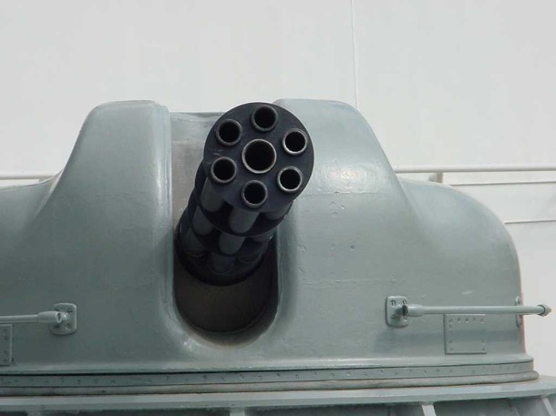 An Ak-630M Gatling gun with it's 6 barrels visible