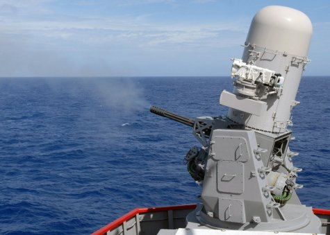 A US Navy Phalanx CIWS with its 20 mm Gatling gun