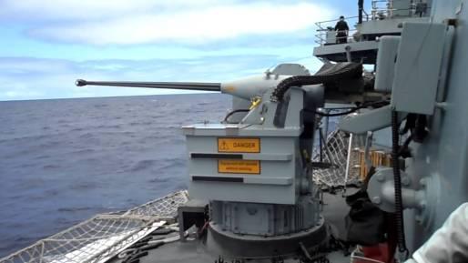 A 30 mm Oerlikon mount on board a Royal Navy frigate