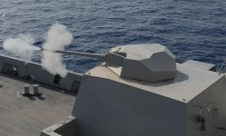 A US Navy Mk46 30 mm gun in a stealth cupola