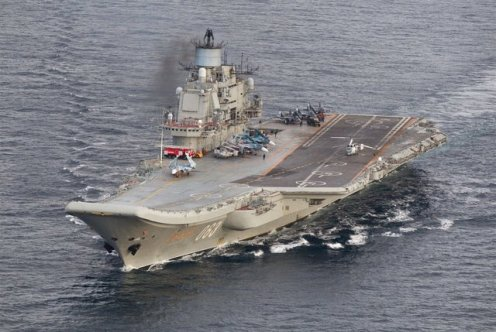 Admiral Kuznetsov with Su-33K and MiG-29K on deck